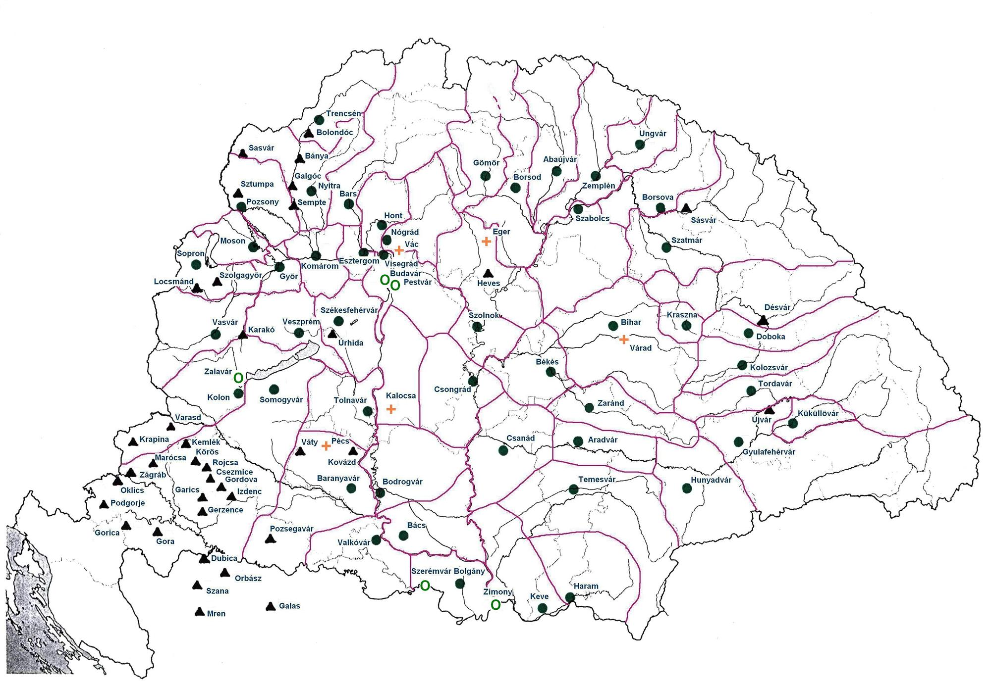 magyar várak térkép Ispánsági várak   térkép magyar várak térkép